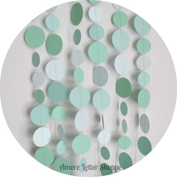 Paper Garland Green Paper Circle Garland by AmoreLetterShoppe, | DIY photo booth for wedding | Mint green wedding