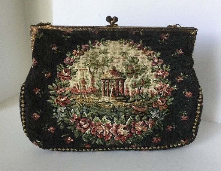 Covered area with columns and a woman standing inside. Boat on the waters edge. No rips, tears or repairs that I detected. This bag is in very good condition with the exception of the metal trim and chain which is tarnished. | eBay!