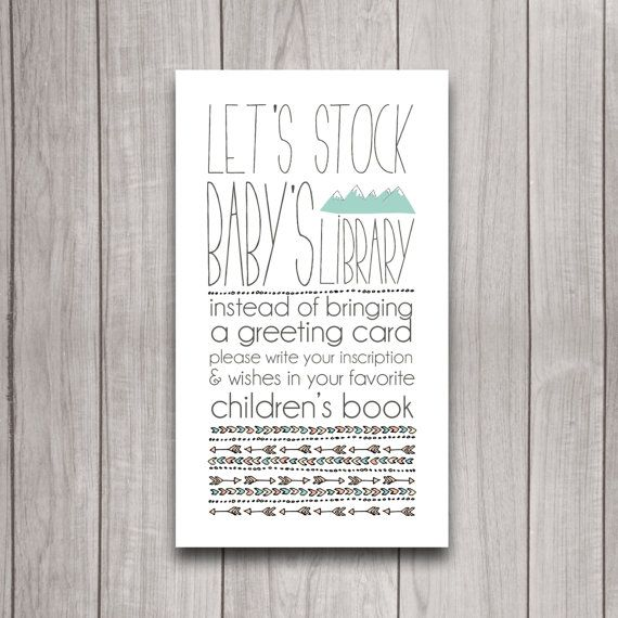 Stock the Library Card, Bring a Book Baby Shower Printable Digital Download, Instead of Card Tribal Camping Party Insert, Mountains Bohemian