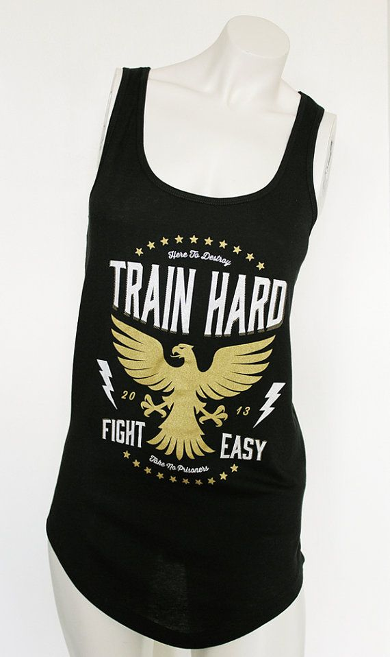 Train Hard Fight Easy workout tank M by LBombFitness on Etsy, $35.00