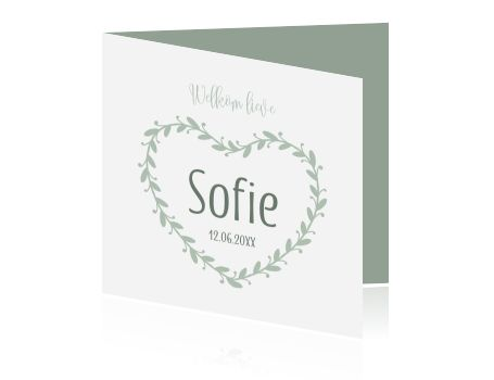 Een lief geboortekaartje met een klassieke organische krans van bladeren, prachtige grijs groene tinten in combinatie met wit.