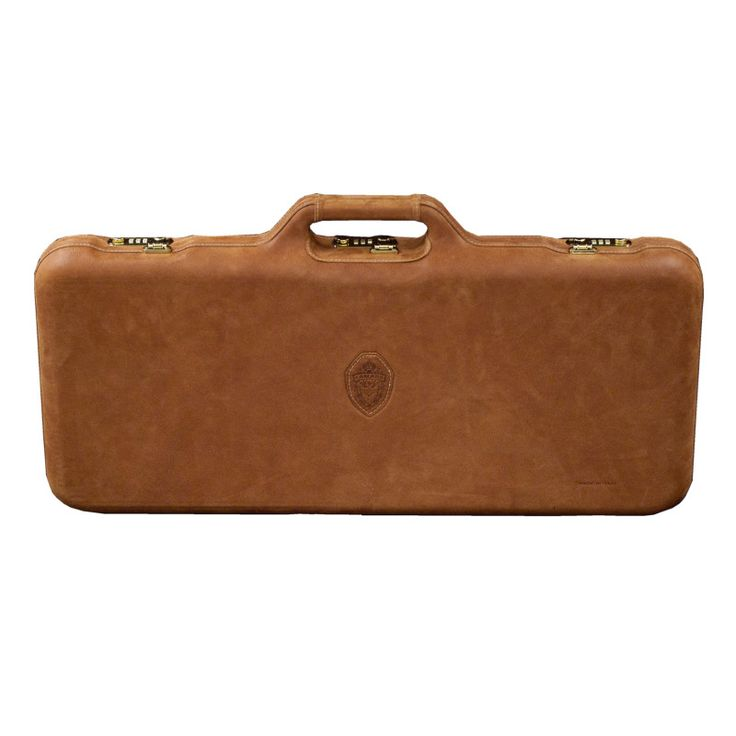 This Italian made case is leather wrapped over a durable ABS thermoformed rifle case.   Saddle leather exterior with a Green velvet interior.   67.5x26x7 cm.   Can accommodate barrels up to 26 inches.