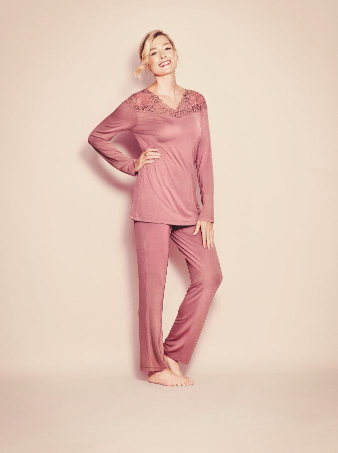 """Spend all day in this must-have, soft long-sleeved pyjama set from our beloved Amourette series.  Photographed: Amourette Pyjama set in Indian Rose"""