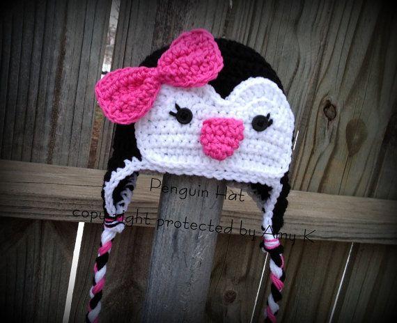 Baby Girl Penguin Hats Crochet Baby Hats Crochet by azek2000, $25.00