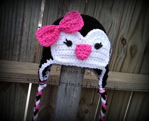 Girl Penguin Hats, Crochet Hats, Crochet Penguin Hats, Toddler Penguin Hat, Penguin Hat for Kids