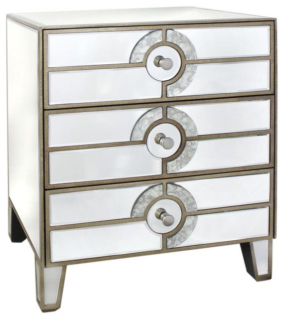 Sharing an aesthetic lineage with chambray shirts, natty trenches and pointy-toe flats, transitional furnishings anchor the form and style of our living spaces. Defined by its art deco ornamentation, this Imola cabinet in glass and MDF consists of three drawers. 1st Avenue balances expressiveness and uncomplicated design, harmonizing clean lines and classically inspired forms in pieces that exude a quiet elegance while asserting the character of the living spaces in which they are placed.