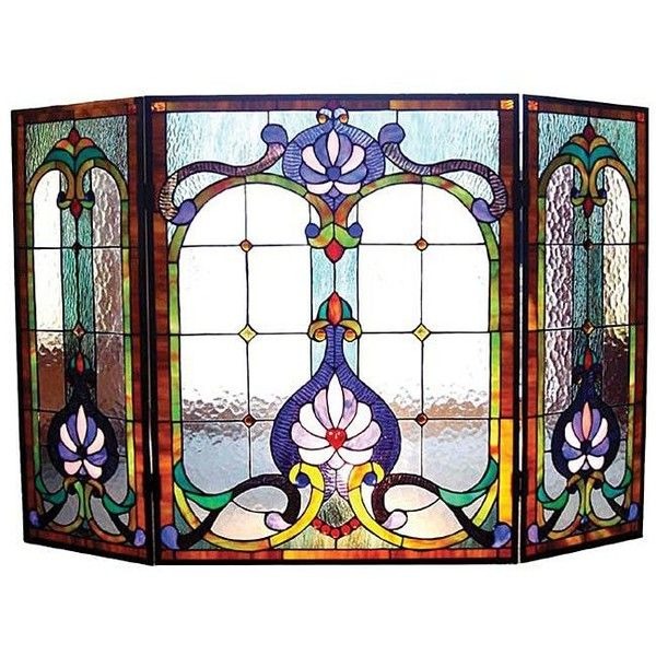 Chloe Victorian Stained Glass Fireplace Screen (260 CAD) ❤ liked on Polyvore featuring home, home decor, fireplace accessories, blue, hearth screen, blue home decor, fire-place screen and victorian fireplace screen