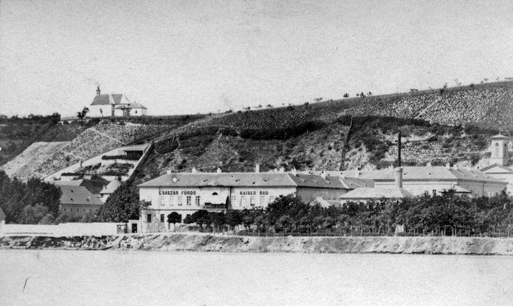 Árpád fejedelem útja (Újlaki rakpart), Császár fürdő, Rózsadomb. A felvétel 1872 körül készült.