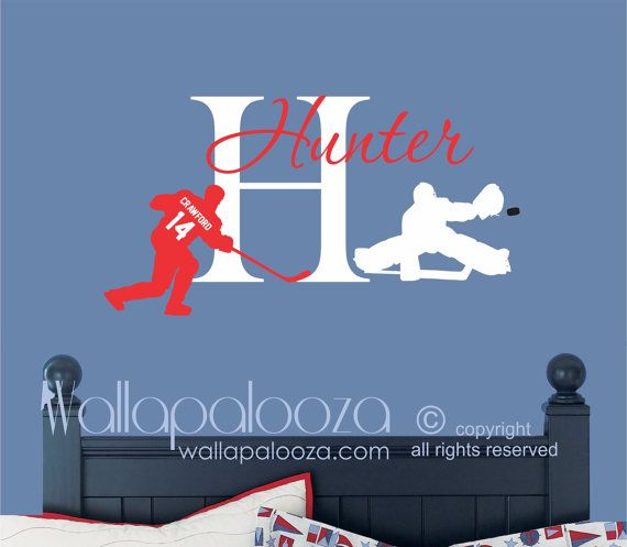 Hockey Wall decal  Hockey decal  Custom NAME by WallapaloozaDecals, $44.00