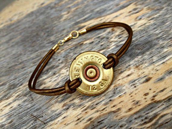 12 Gauge Shotgun Shell Leather Cord Bracelet by AquaAnchorDesigns on Etsy, $7.00