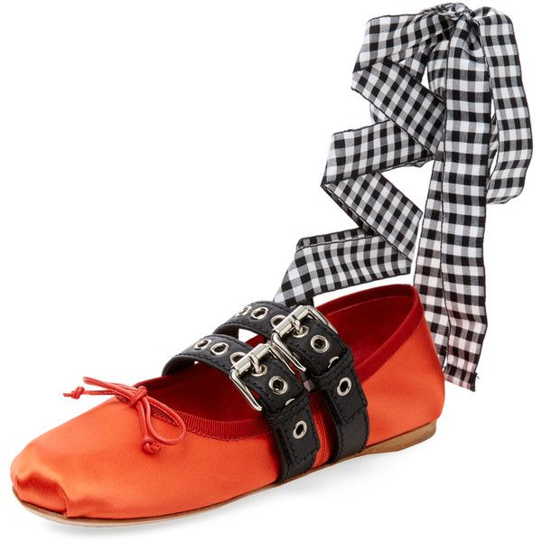 Miu Miu Women's Double Strap Lace-Up Ballet Flat - Orange, Size 35 ($549) ❤ liked on Polyvore featuring shoes, flats, orange, leather ballet flats, leather shoes, lace up flats, ballet pumps and orange ballet flats