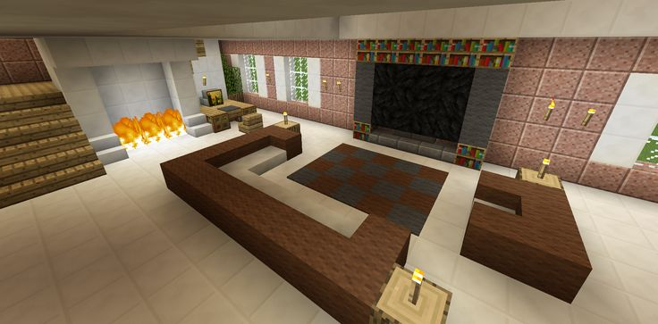 Minecraft living room family room furniture couch chair tv Living room furniture minecraft