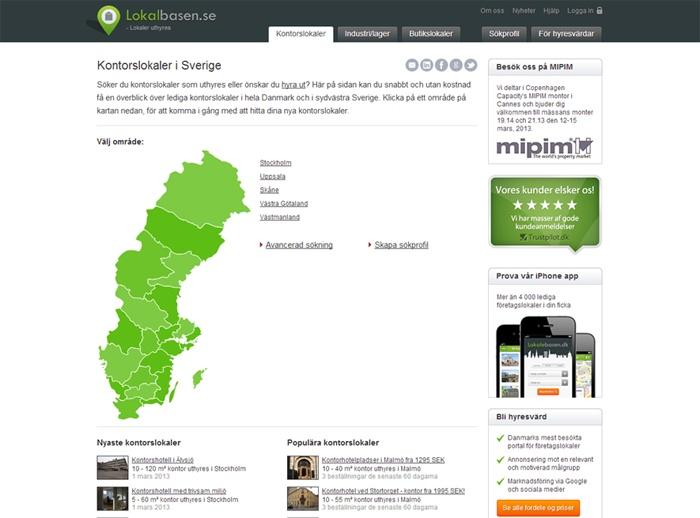 Lokalbasen.dk åbner svensk søsterportal, Lokalbasen.se, hvor du kan finde erhvervslejemål i hele Sverige.