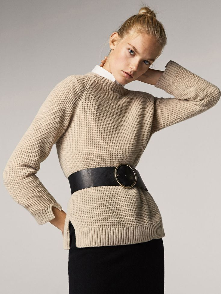 Fall Winter 2017 Women´s TEXTURED WEAVE SWEATER WITH SIDE VENTS at Massimo Dutti for 110. Effortless elegance!