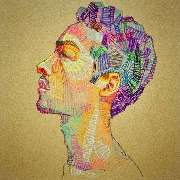Художник Луи Феррейра рисует красочные этюды рук и лица, произведения, которые используют дискретные формы цвета, блики и тени. Эти геометрические фрагменты смешиваются с помощью глаз зрителя, а не рукой художника, создавая цветовые поля. Феррейра намерен обратить внимание на связь между видение
