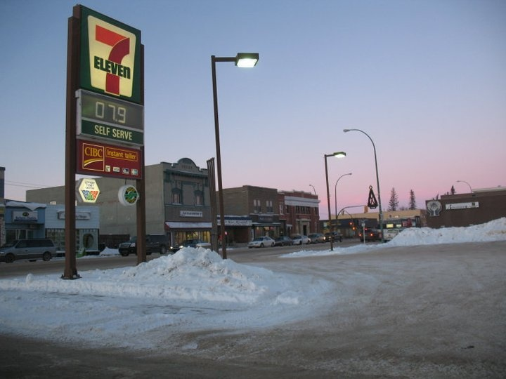 View of Melfort's main street facades from 7-11