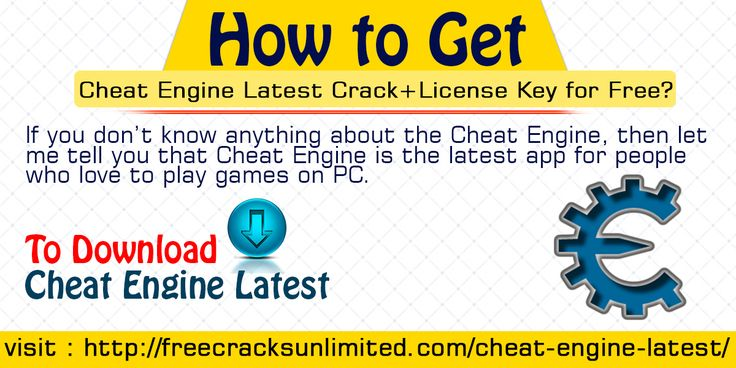 If you don't know anything about the Cheat Engine, then let me tell you that Cheat Engine is the latest app for people who love to play games on PC. With the help of Cheat Engine, you can adjust the difficulty levels in the game to make it more interesting.  Website Link : http://freecracksunlimited.com/cheat-engine-latest/