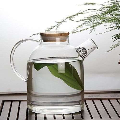 Hiware 60 Oz Glass Water Pitcher With Natural Bamboo Wood