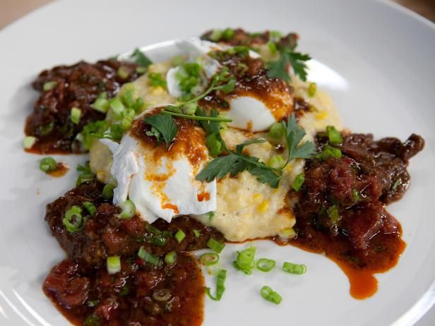 Get Beef Grillades with Cheesy Fresh Corn and Sweet Onion Grits Recipe from Cooking Channel