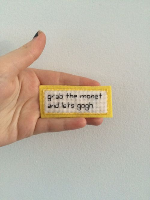grab the monet and lets gogh cross stitch patch (also available in red and blue)
