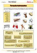 Muziekinstrumenten - Werkbladen | Muziek heel veel werkbladen met uitgebreid materiaal ( werkbladen+ oplossing)