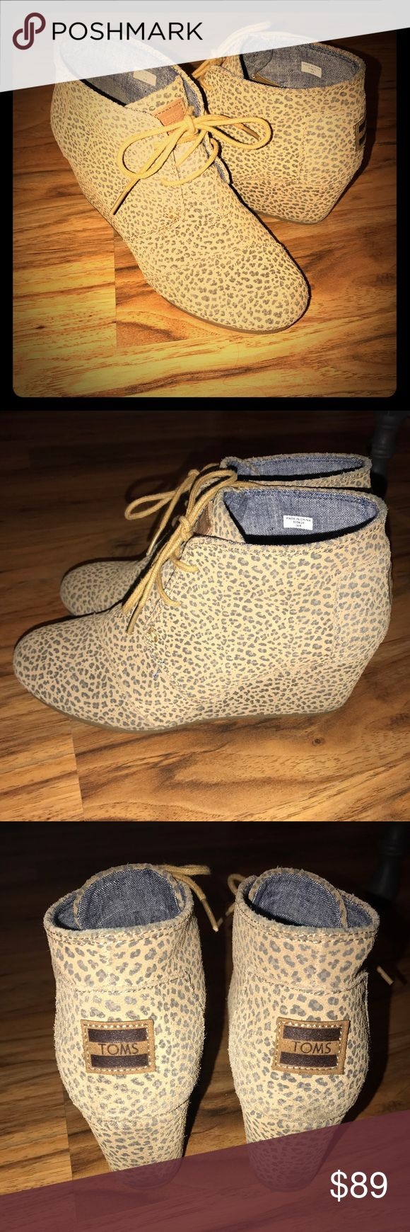 Leopard TOMS *hard to find* EUC size 8 Great condition leopard print tom sand wedge size 8 TOMS Shoes Ankle Boots & Booties