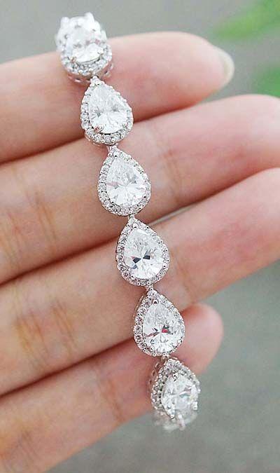 Luxury Cubic Zirconia Halo Style Pear Shape Bridal Bracelet from EarringsNation