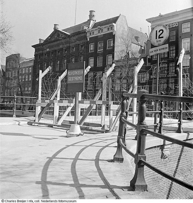 Sealing off the Jewish quarters at the Kloveniersburgwal, Amsterdam, The Netherlands (1942).