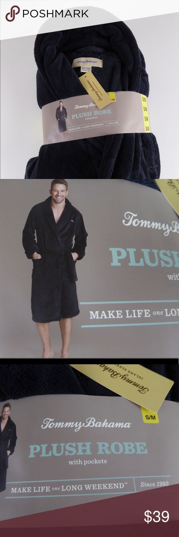 NWT Tommy Bahama Plush Bath Robe w/ Pockets & Logo Brand new super soft bathrobe from Tommy Bahama. Has front pockets and a traditional wrap style with belt in matching material. Tommy Bahama logo embroidered in a tonal color on left chest. Quite soft and is perfect for men or woman!  S/M sizing. Dark color...almost between a dark navy and black. Material content in photo. Let us know if you have any questions. Tommy Bahama Other