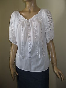 Amazing hand embroidered Romanian blouse . Lace pattern !