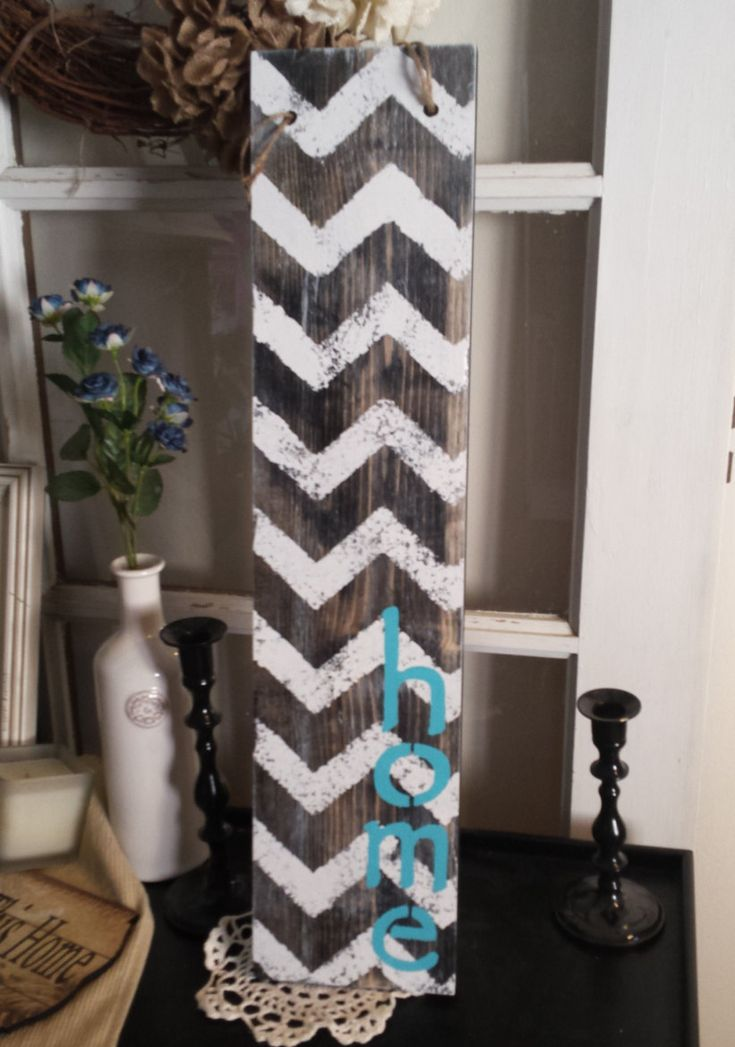 "Chevron Home Wooden Sign, Hanging Wooden Sign,Home Sign, Rustic Home Sign, Chevron Sign 23.5"" x 5.5"" - pinned by pin4etsy.com"