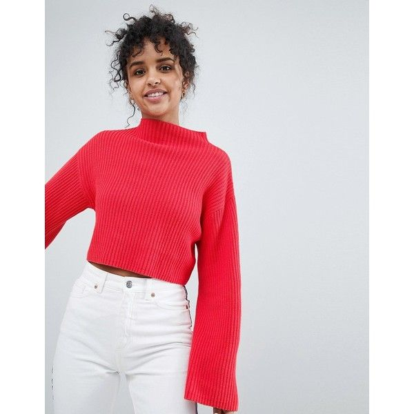 Monki Cropped Wide Sleeve Jumper (£28) ❤ liked on Polyvore featuring tops, sweaters, red, high neckline tops, high neck crop top, cropped sweater, red jumper and red top