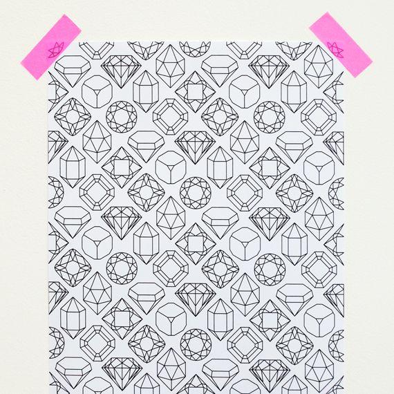 """Gems & crystals"" printable paper"