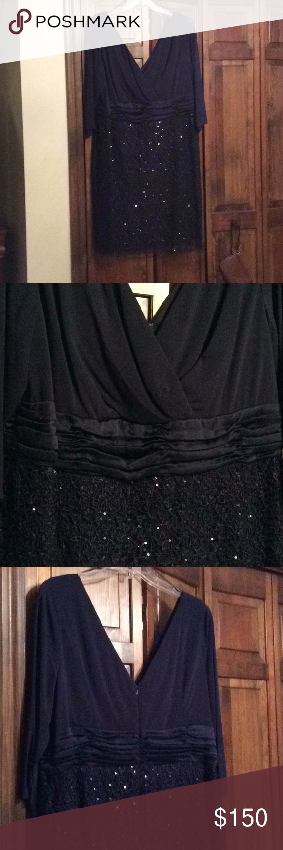 Embellished Kay Unger dress never worn Navy blue Kay Unger dress perfect for the mother of the bride or any formal occasion. Never worn but no tags. In original packaging. Deep v neck and v back with back zipper..3/4 length sleeve that is hard to find. Bought it for my daughter's wedding but it just never fit right. Kay Unger Dresses