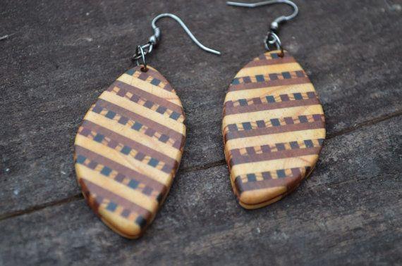 Wooden Ornamental Earrings  by Molinart by Molinart on Etsy, $35.00