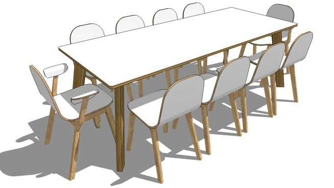 Hutten SPM Table and Bilbao chair and armchair SketchUp 3D