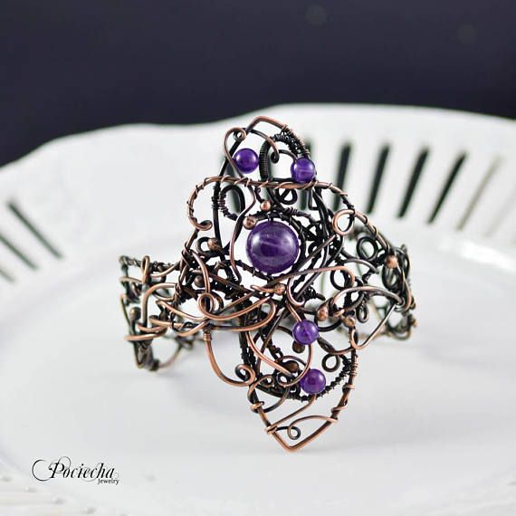 Wire wrapped amethyste braceletamethyste