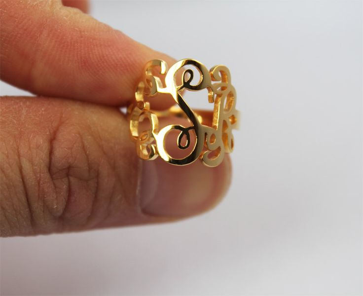 gold monogram ring ring monogram by joellejewelrydesign on etsy   34 99