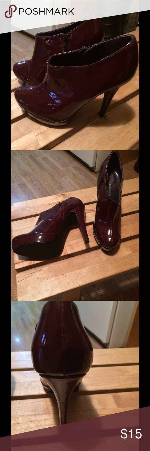 """Patent Leather Eggplant Purple Ankle Heeled Bootie Definitely a head turner. Patent leather & eggplant in color, these heeled, ankle booties can be dressed up or down & still look amazing. Unique yet simple. Worn once briefly & like new. Size 10 & approximately 3.25"""" in height. Shoes Ankle Boots & Booties"""