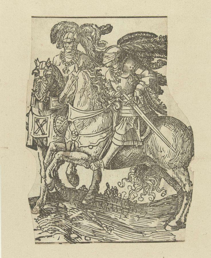 Jacob Cornelisz van Oostsanen   Filips de Goede en Karel de Stoute, Jacob Cornelisz van Oostsanen, 1518   Afdruk van houtblok dat was gebruikt als rechterhelft van een blad. Filips de Goede en Karel de Stoute te paard, zonder wapenschilden en namen.