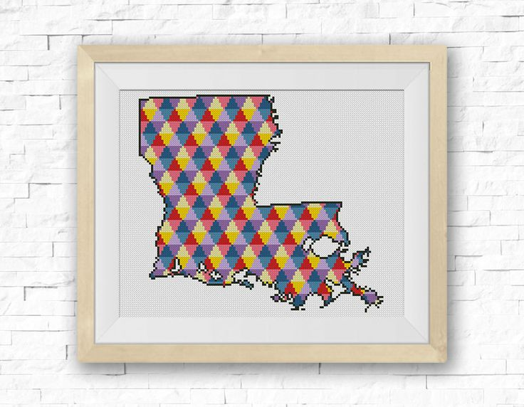 BOGO FREE! Louisiana Cross Stitch Pattern, Stripe Silhouette Сounted Cross Stitch Chart, Embroidery Needlework PDF Instant Download #039-19 by StitchLine on Etsy