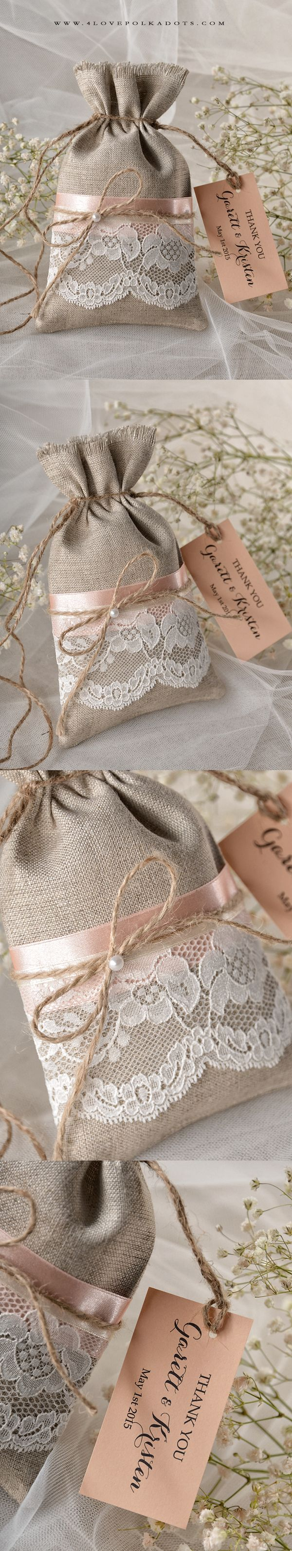 Lovely Linen Favor Bag with real lace & paper tag - impress Your Wedding Guests #summerwedding #weddingideas