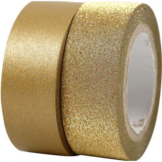 Goudkleurig glitter tape 2 rollen. Pakket met 1 rol mat tape van 10m en 1 rol glitter tape van 7m.