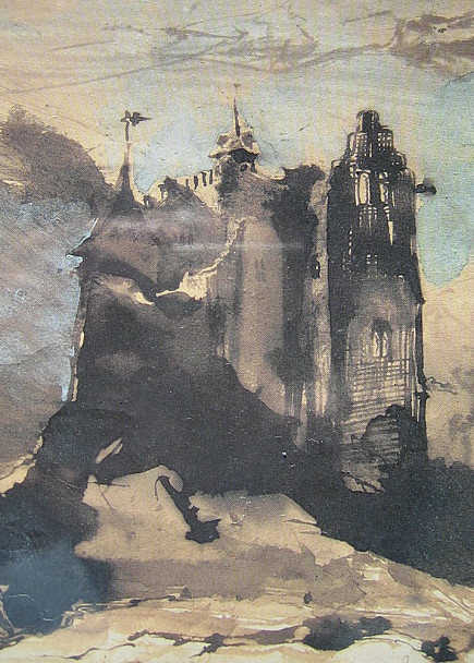 The dark colours and dramatic shape of the castle give the sketch an ominous feel.