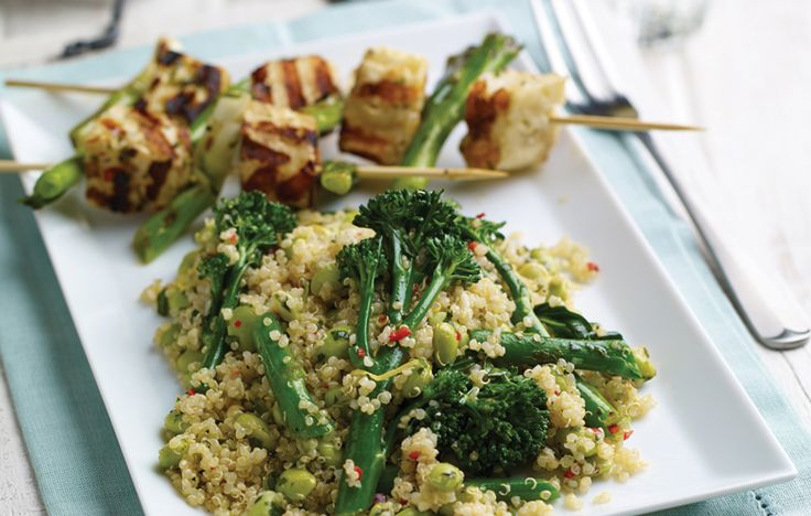 Quinoa and BBQ halloumi salad and spring onion kebabs