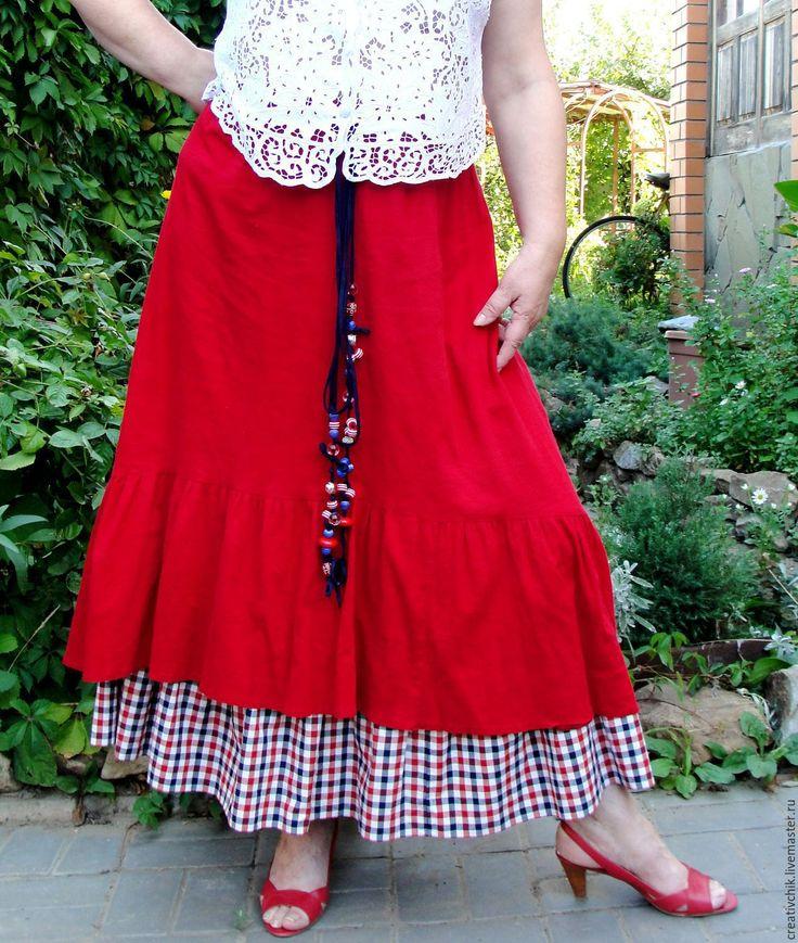 Купить Юбка летняя красная Бохо - ярко-красный, летняя юбка красная