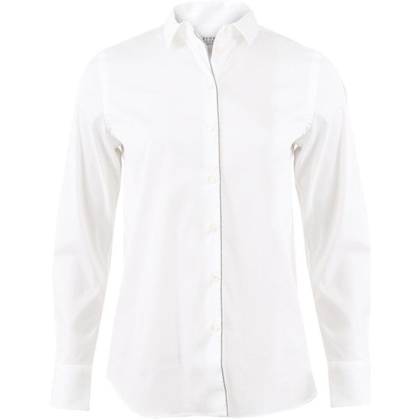Brunello Cucinelli Monili Lines Placket Blouse ($695) ❤ liked on Polyvore featuring tops, blouses, collar top, white button front blouse, cotton blouse, long blouse and collar blouse