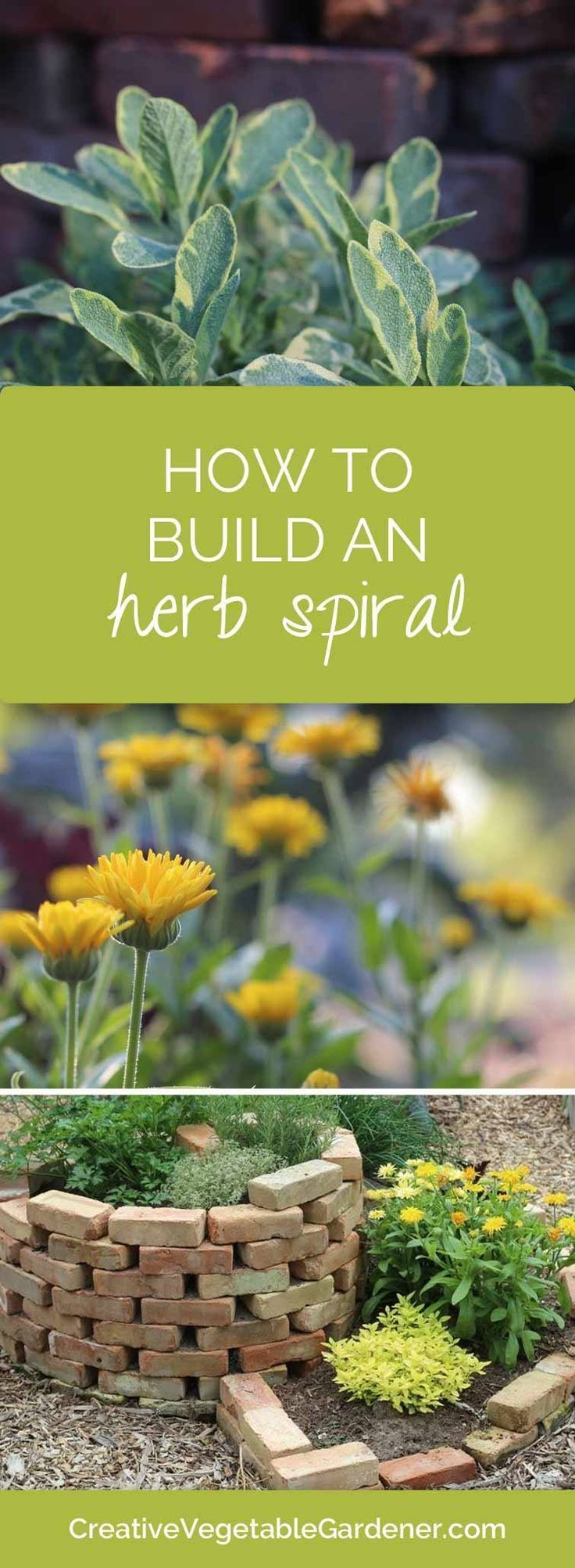 An herb spiral can add a pretty structural element to your garden and give you a place to grow your herbs!