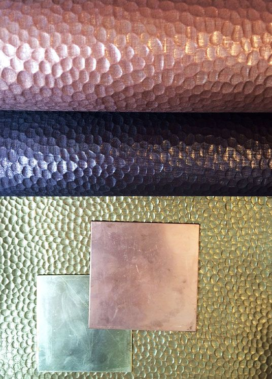 New wallpaper by Elitis, with gold and bronze 'hammered' effect!