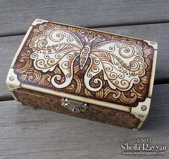 Steampunk Butterfly Box - pyrography woodburning by MotherSpoon on etsy.com